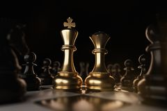 Golden King and Queen Chess piece Concept for business competition and strategy. Golden King and Queen Chess piece Concept for business competition and strategy vector illustration