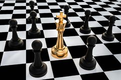 Golden King surrounded by black pawns - chess trap concept. 3D rendered illustration Stock Photos