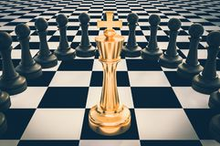 Golden King surrounded by black pawns - chess trap concept. 3D rendered illustration. Retro style vector illustration