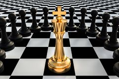 Golden King surrounded by black pawns - chess trap concept. 3D rendered illustration Stock Photo