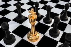 Golden King surrounded by black pawns - chess trap concept. 3D rendered illustration Royalty Free Stock Image