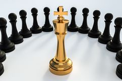 Golden King surrounded by black pawns - chess trap concept. 3D rendered illustration Stock Images