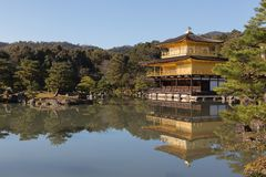 Golden Kinkaku-ji zen temple. With water reflection and clear blue sky background, Japan historic landmark Royalty Free Stock Photography