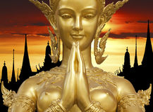 Golden Kinnari Statue Stock Images