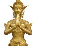 Golden Kinnari Statue Demonstrating Sawaddee Stock Photo
