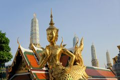 Golden Kinnari, Temple of Emerald Buddha, Bangkok Royalty Free Stock Photos