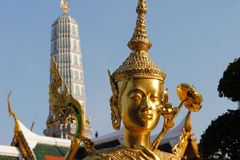 Golden Kinnari, Temple of Emerald Buddha, Bangkok Royalty Free Stock Photo