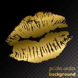 Golden kiss lips imprint on black background. Golden kiss lips imprint on a black background Stock Images