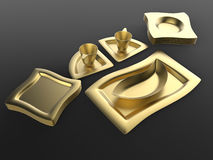 Golden kitchenware Royalty Free Stock Image