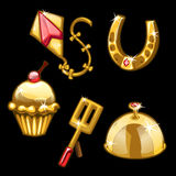 Golden kite flying, horseshoes, cupcake and other Royalty Free Stock Photos