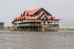 Golden kite restaurant inle lake Royalty Free Stock Images