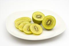 Golden kiwi fruit. Sliced golden kiwi fruit (Actinidia chinensis Stock Images