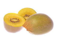 Golden Kiwi Fruits Macro Isolated Stock Images