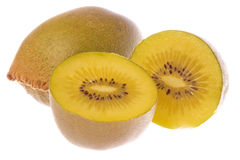 Golden Kiwi Fruits Macro Isolated Royalty Free Stock Photography