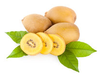 Golden kiwi. S in white background stock photography