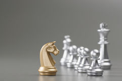 Golden Knight chess Stock Photo