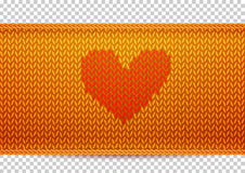 Golden knitted banner with Heart shape Royalty Free Stock Image