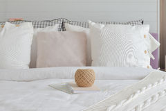 Golden knitting wool and books setting on english country style Stock Photography