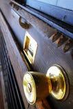 Golden knob. Security door that expresses strength Stock Images