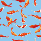 Golden koi fishes seamless vector print Stock Images
