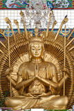 Golden Kuan Yin Statue in Temple Royalty Free Stock Image