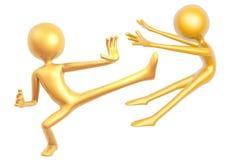 Golden kungfu guy fighting pose isolated on white background Stock Photos