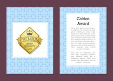 Golden Label with Text on Vector Illustration. Golden label with best quality 100 title and icon of crown with stars, there is text sample as separate image on Vector Illustration