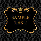 Golden label on damask black background Royalty Free Stock Photos