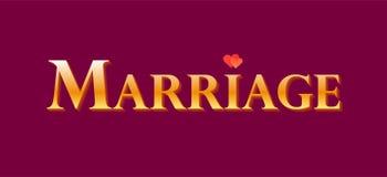 Golden label for decoration for Wedding, Marriage - Vector design element for celebrating of anniversary. Golden label for decoration for Wedding, Marriage stock illustration
