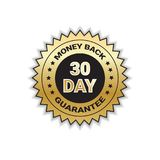 Golden Label Money Back In 30 Days With Guarantee Template Stamp Isolated. Vector Illustration Royalty Free Stock Image