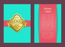 Golden Label Quality Award Premium Brand Guarantee. Golden label quality award premium brand 100 guarantee seal with text samples. Warranty sticker with metal vector illustration