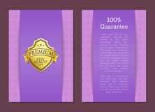 Golden Label Quality Premium Brand. 100 Guarantee. Golden label quality award premium brand. 100 guarantee seal with text sample. Warranty sticker with metal royalty free illustration