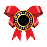 Golden label with red ribbon Royalty Free Stock Photography