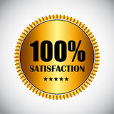 Golden Label 100 % Satisfaction Vector. Illustration. EPS10 Stock Photos