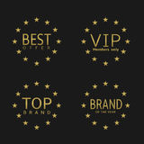 Golden label set. Best offer, brand of the year, VIP, top brand Royalty Free Stock Photo
