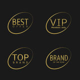 Golden label set. Best offer, brand of the year, VIP, top brand Royalty Free Stock Photography