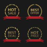 Golden label set. With red ribbons. Hot sale, Best offer, Best deal, Hot price. Golden laurel wreaths Royalty Free Stock Images