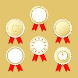 Golden label stickers with award ribbons. Vector llustration EPS10 Royalty Free Stock Photo