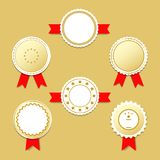 Golden label stickers with award ribbons. Vector llustration EPS10 Stock Image
