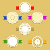 Golden label stickers with award ribbons. Vector llustration EPS10 Royalty Free Stock Photos