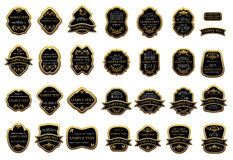 Golden label templates with floral ornament Royalty Free Stock Image