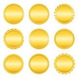 Golden Labels. Set of golden labels on white background Stock Images
