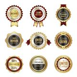 Golden labels badges. Premium service crown luxury best choice stamp templates vector design of colored logos. Stamp sticker guarantee, badge warranty, limited stock illustration