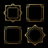 Golden labels on black background. Square and star frames. Decorative border. Illustration Royalty Free Stock Photo