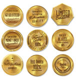 Golden labels collection Royalty Free Stock Photography
