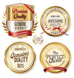 Golden labels collection. Isolated on background Stock Photography