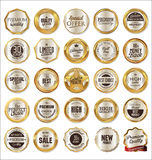 Golden labels collection. Isolated on white background Stock Photo