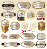 Golden labels collection. Golden labels premium quality collection Royalty Free Stock Images