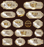 Golden labels collection. Golden labels premium quality collection Stock Image