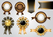Golden labels collection set on gray background luxury vector. Illustration Stock Images